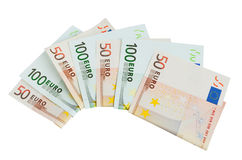 Money. Banknotes 50 and 100 euro closeup on white background Stock Images