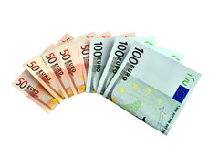 Money. Banknotes 50 and 100 euro closeup on white background Stock Photos