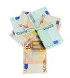 Money. Banknotes 50 and 100 euro closeup on white background Stock Photo