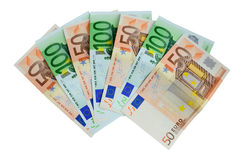 Money. Banknotes 50 and 100 euro closeup on white background Stock Image