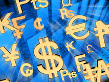 Money. Exchange rates. 3d rendered illustration Royalty Free Stock Photos