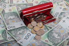 Money. Red wallet with Polish money stock image