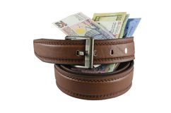 Money. Banknote and belt:Concept for saving , isolated on white background Royalty Free Stock Images