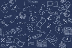 Money. Seamless pattern with money, business and financial icon sand symbols. Business background doodle Royalty Free Stock Images