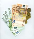 Money. Euros and cents in the white background Royalty Free Stock Photography