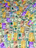 Money. A pile of all kinds of money in different color Royalty Free Stock Photography