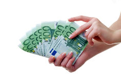 Money. Hand with a pack of paper money Royalty Free Stock Images