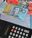 Money. Australian money and calculator royalty free stock photography