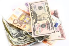 Money. Photograph of different currencies - euro, dollars and etc Stock Photography