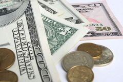 Money. Paper money of different advantage, dollars, euro, coins Stock Photography