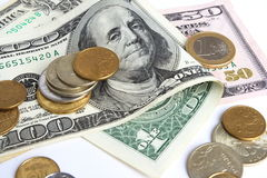 Money. Paper money of different advantage, dollars, euro, coins Stock Photo