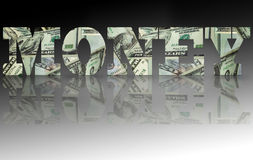 Money. Word MONEY on table with reflections Royalty Free Stock Photography