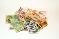 Money. Chinese, Rumanian, Polish banknotes and of other nations Stock Photos
