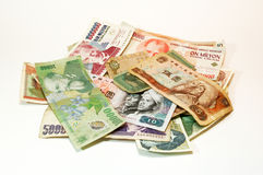 Money. Chinese, Rumanian, Polish banknotes and of other nations Royalty Free Stock Photo
