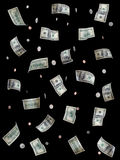 Money. Hundred dollar bills and coins falling - Highly detailed money images on black Stock Photography