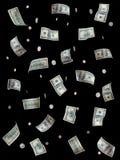 Money. Hundred dollar bills and coins falling - Highly detailed money images on black stock illustration