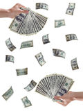 Money. Hundred dollar bills falling - Highly detailed money images inthe human hands. With clipping path Stock Images