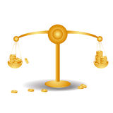 Money. A golden balance with a lot of money in it Royalty Free Stock Images