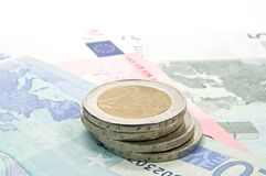 Money. Closeup of Euro banknotes and coins Stock Photography
