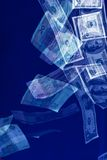 Money. Series: falling bank-paper  over blue, inflation Royalty Free Stock Photos