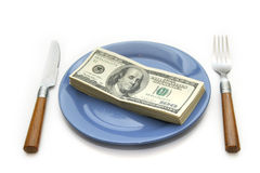 Money 4. Money to a dish royalty free stock image