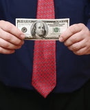 Money. Manager with dollar notes stock photo
