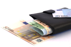 Money. Black purse with paper money euro on white Stock Photography