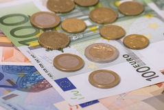 Money. Paper money euro and coins Royalty Free Stock Image
