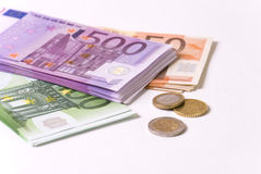 Money. Paper money, euro banknote and coins Stock Photos