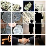 Money. Theme on a grid Stock Photography