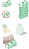 Money. A collection of money icons, including a money bag, coins, a piggy bank, a calculator, and cash stock illustration