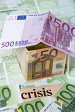 Money. Paper money euro banknotes as house Royalty Free Stock Photography