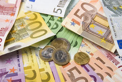Money. Lot of paper money euro banknotes and coins Royalty Free Stock Images