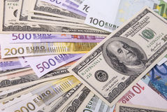 Money. Lot of paper money dollar and euro banknotes Stock Photos