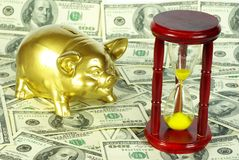Money. Gold piggy bank on a dollars stock image