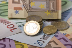 Money. Paper money euro banknotes and coins Stock Images