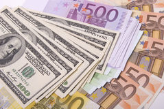 Money. Various paper money dollar and euro banknotes Royalty Free Stock Photography