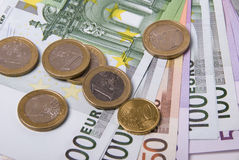 Money. Various paper money euro banknotes and coins Royalty Free Stock Photo