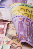 Money. Various paper money euro banknotes Stock Photos