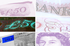 Money. Grids of bank notes - british pound and euro Stock Illustration