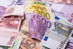 Money. Lot of various paper money euro banknotes Royalty Free Stock Photo