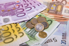 Money. Various paper money euro banknotes and coins Royalty Free Stock Photos