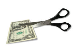 Money. One money in the scissors Royalty Free Stock Photography