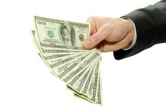Money. In hands on white Royalty Free Stock Image