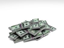 Money. Dollar bills on the white background Stock Photography