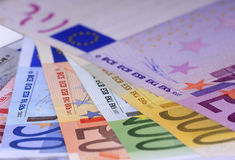 Money. Close up of the highest euro notes evaluable Royalty Free Stock Image