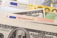 Money. Various paper money euro and dollar banknotes Royalty Free Stock Image