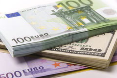 Money. Lot of paper money euro and dollar banknotes Royalty Free Stock Photo