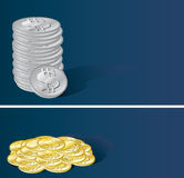 Money. Silver and gold coins on the blue background; two vector illustration Royalty Free Stock Photography