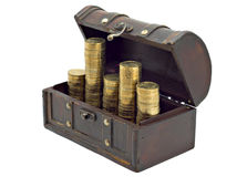 Money. Open wooden chest with coins inside isolated on white background Royalty Free Stock Photos